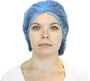Safety Zone® 24' Blue Non-Woven Polypropylene Serged Seam Bouffant Cap