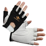 Impacto Protective Products X-Large Black And White Nylon Mesh And Leather Half Finger Right Hand Only Anti-Impact Mechanics Glove With Hook And Loop Cuff