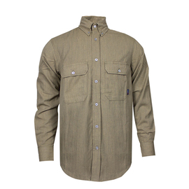 National Safety Apparel® Small Tan TECGEN CC™ OPF Blend 9.3 cal/cm² Flame Resistant Work Shirt With Button Closure