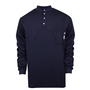 National Safety Apparel® 3X Navy TrueComfort® 8.9 cal/cm² Flame Resistant Long Sleeve Henley