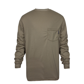 National Safety Apparel® Medium Khaki TrueComfort® 8.9 cal/cm² Flame Resistant Long Sleeve T-Shirt