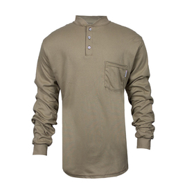 National Safety Apparel® Medium Khaki TrueComfort® 8.9 cal/cm² Flame Resistant Long Sleeve Henley
