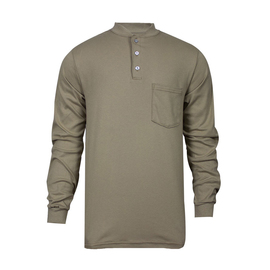 National Safety Apparel® Large Khaki Classic Cotton™ 12 cal/cm² Flame Resistant Long Sleeve Henley