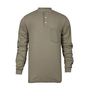 National Safety Apparel® 3X Khaki Classic Cotton™ 12 cal/cm² Flame Resistant Long Sleeve Henley