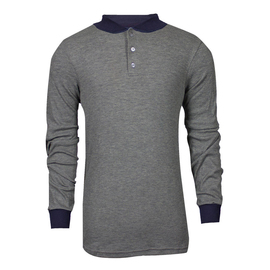 National Safety Apparel® X-Large Gray TECGEN® OPF Blend Knit 13 cal/cm² Flame Resistant Long Sleeve Henley