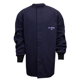 National Safety Apparel® Small Navy UltraSoft® 12 cal/cm² Flame Resistant Coat With Hook And Loop Closure