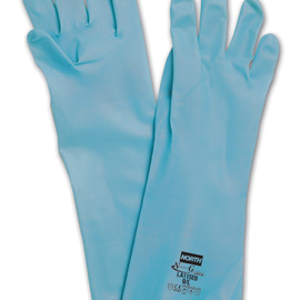 Honeywell Size 7 Blue North® Flock Lined 15 mil Unsupported Nitrile Chemical Resistant Gloves