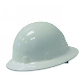 Honeywell White Fibre-Metal E1 Thermoplastic Full Brim Hard Hat With Rachet/8 Point Ratchet Suspension on white background