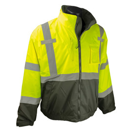 Radians, Inc. Medium Hi-Viz Green/Black RadWear™ Water And Wind Resistant 300D DWR Coated 100% Polyester Oxford Bomber Jacket With Removable Liner
