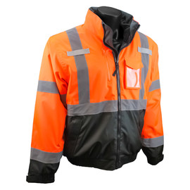 Radians, Inc. X-Large Hi-Viz Orange RadWear™ Water And Wind Resistant Polyester Oxford 3-in-1 Bomber Jacket Removable Liner