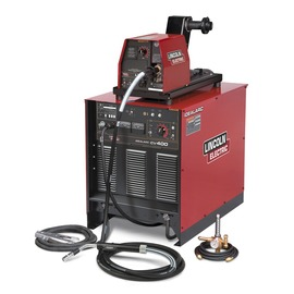 Lincoln Electric® Idealarc® CV400/LF74 Ready-Pak® MIG Welder, 230/460 Volt, With Power Source, LF-74 Wire Feeder And Magnum® PRO 350 MIG Gun With 15' Leads, 10' Power Cable, Work Clamp, Flowmeter Regulator And Gas Hose