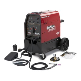 Lincoln Electric® Precision TIG® 225 Ready-Pak® TIG Welder, 208/230 Volt With 10' Work Cable And Clamp, 9' Power Input Cord, PTA-17 One-Piece TIG Torch, Foot Amptrol™, Gas Regulator And Hose, Torch Parts Storage Compartment, Torch Hanger, Removable Lift Eye And Understorage Cart