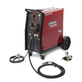 Lincoln Electric® Power MIG® 216 MIG Welder 208/220/230Volt With Magnum® PRO 250L Gun With 15' Leads, Built-In Undercarriage, Gas Regulator And Hose Kit, 10' Power Cable With Plug