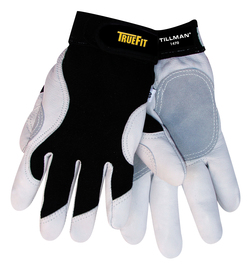 Tillman® 2X Black And White TrueFit® Goatskin And Spandex® Full Finger Mechanics Gloves With Elastic/Hook And Loop Cuff