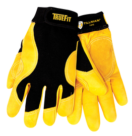 Tillman® X-Large Black And Gold TrueFit® Cowhide And Spandex® Full Finger Mechanics Gloves With Elastic/Hook And Loop Cuff