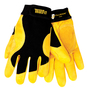 Tillman® Large Black And Gold TrueFit® Cowhide And Spandex® Full Finger Mechanics Gloves With Elastic/Hook And Loop Cuff