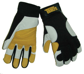 Tillman® X-Large Black, Pearl And Gold TrueFit® Goatskin And Spandex® Full Finger Mechanics Gloves With Elastic/Hook And Loop Cuff