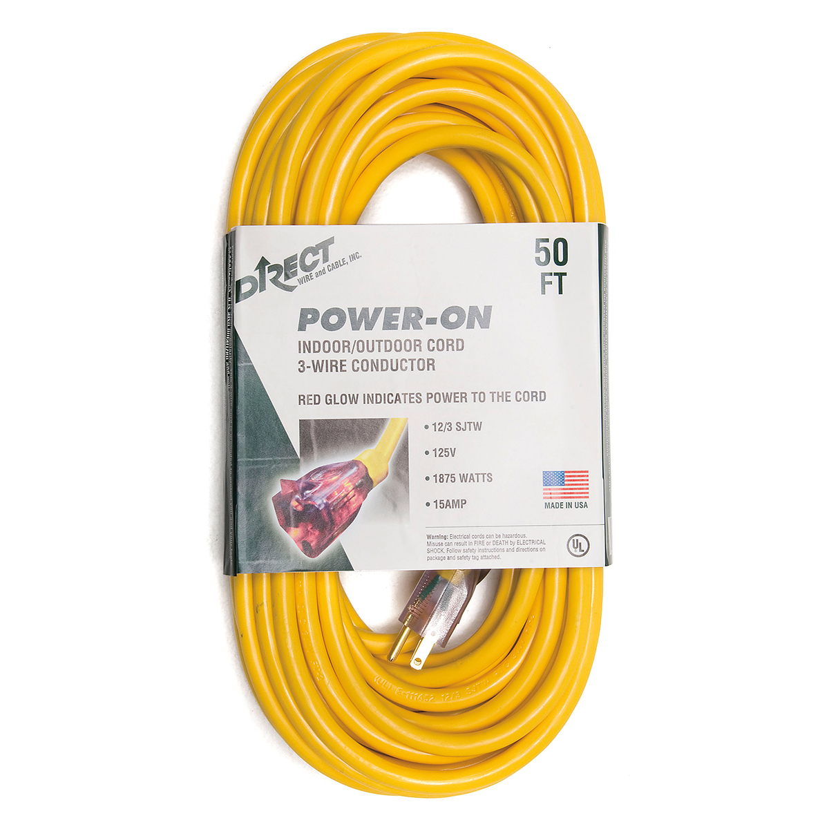 Airgas Wiring Extension Cord Direct Wire Cable 50 Nema 5 15r 12 3 Awg Yellow