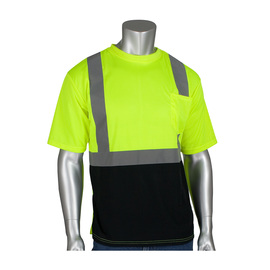 PIP® 3X Hi-Viz Yellow/Hi-Viz Orange 1 Polyester/Birdseye Mesh Two-Tone Short Sleeve Shirt