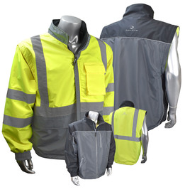 Radians, Inc. Medium Hi-Viz Green/Gray RadWear™ Water And Wind Resistant DWR Coated 100% Polyester Twill Light Weight Reversible Jacket With Zip Off Sleeves
