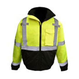 Radians, Inc. Medium Hi-Viz Green/Black Radwear™ 300D PU Coated 100% Oxford Polyester Lining/Polyester Taffeta Bomber Jacket