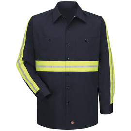 Red Kap® X-Large/Regular Navy With Yellow/Green Visibility Trim 6 Ounce Cotton Shirt With Button Closure