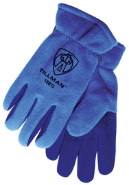 Tillman® Medium Blue Polar Fleece And Leather ColdBlock™/Cotton/Polyester Lined Cold Weather Gloves