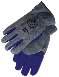 Tillman™ Medium Gray And Blue Polar Fleece And Leather ColdBlock™/Cotton/Polyester Lined Cold Weather Gloves