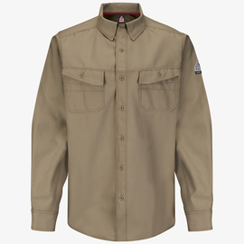 Bulwark® Medium Tall Khaki Cotton Polyester Flame Resistant Work Shirt