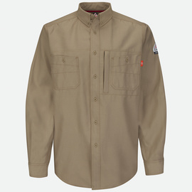 Bulwark® X-Large Regular Khaki Cotton Polyester Flame Resistant Work Shirt