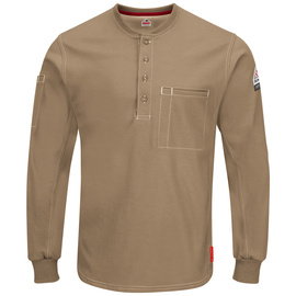Bulwark® 4X Regular Khaki Cotton Polyester Flame Resistant Work Shirt