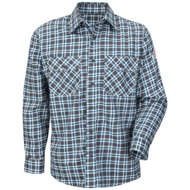 Bulwark® Small Regular Teal And Brown Plaid Cotton Nylon Flame Resistant Work Shirt