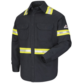 Bulwark® 3X Regular Navy Cotton Nylon Flame Resistant Work Shirt