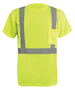 "Radnor® Large Hi-Viz Yellow Wicking Birdseye Polyester Lightweight T-Shirt With 2"" Silver Reflective Tape"