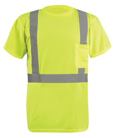 "Radnor® 2X Hi-Viz Yellow Wicking Birdseye Polyester Lightweight T-Shirt With 2"" Silver Reflective Tape"
