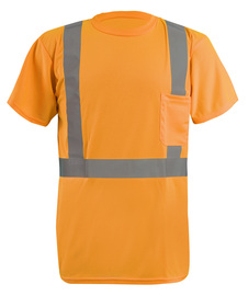 "Radnor® Medium Hi-Viz Orange Wicking Birdseye Polyester Lightweight T-Shirt With 2"" Silver Reflective Tape"