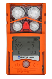Industrial Scientific Ventis™ Pro4 Combustible Levels of Pentane, Oxygen, Hydrogen Sulfide And Carbon Monoxide Multi Gas Monitor