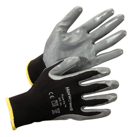 Honeywell Large Pure Fit™ 375 13 Gauge Gray And Black Nitrile Palm And Fingertips Coated Work Gloves With Black Nylon Liner And Knit Wrist