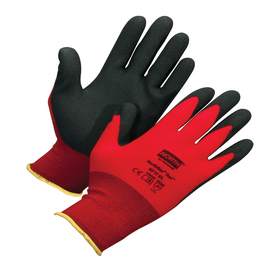 Honeywell Small NorthFlex Red™ NF11 15 Gauge Black Foam PVC Palm And Fingertips Coated Work Gloves With Red Nylon Liner And Knit Wrist