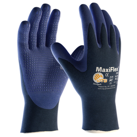 PIP® Small MaxiFlex® Elite by ATG® Blue Nitrile Palm And Finger Coated Work Gloves With Nylon Knit Liner And Continuous Knit Wrist