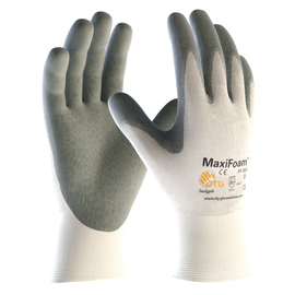 PIP® X-Large MaxiFoam® By ATG® Gray Nitrile Palm And Finger Coated Work Gloves With Nylon Liner And Continuous Knit Wrist