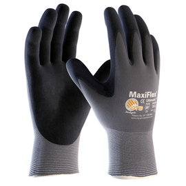 PIP® 2X MaxiFlex® Ultimate by ATG® Black Latex Palm And Finger Coated Work Gloves With Nylon Liner And Continuous Knit Wrist