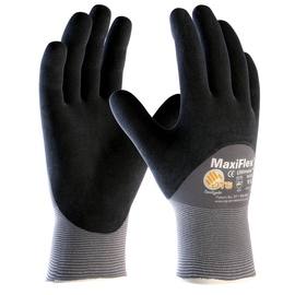 PIP® Large MaxiFlex® Ultimate by ATG® Black Nitrile Palm, Finger And Knuckles Coated Work Gloves With Nylon And Lycra® Liner And Continuous Knit Wrist