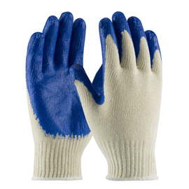 PIP® Large  7 Gauge Blue Nitrile Palm And Finger Coated Work Gloves With Cotton And Polyester Liner And Continuous Knit Wrist