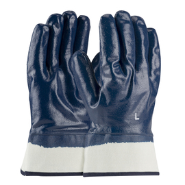 PIP® Large ArmorTuff® Standard Blue Nitrile Full Coated Work Gloves With Cotton Liner And Safety Cuff