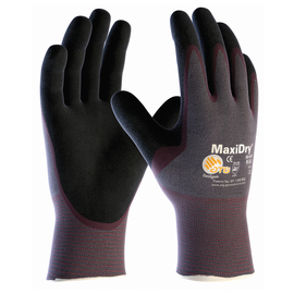 PIP® Large MaxiDry® By ATG® Black Nitrile Palm And Finger Coated Work Gloves With Nylon Liner And Continuous Knit Wrist