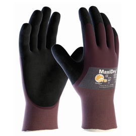 PIP® Medium MaxiDry® By ATG® Black Nitrile Palm, Finger And Knuckles Coated Work Gloves With Nylon Liner And Continuous Knit Wrist