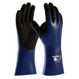 PIP® 2X MaxiDry® Plus by ATG® Black Nitrile Full Coated Work Gloves With Nylon Liner And Gauntlet Cuff