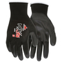 MCR Safety® Large Economy 13 Gauge Black Polyurethane Palm And Fingertips Coated Work Gloves With Black Nylon Liner And Knit Wrist