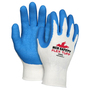 MCR Safety® Large FlexTuff® 10 Gauge Blue Latex Palm And Fingertips Coated Work Gloves With White Cotton And Polyester Liner And Knit Wrist